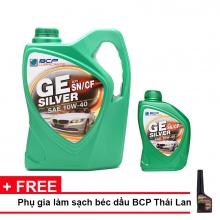 Nhớt xe ô tô tổng hợp BCP Thái Lan nhập khẩu dành cho xe động cơ xăng - GE SILVER - SAE 10W40 - API SN/CF - 4 +1L tặng dung dịch súc béc dầu BCP DIESEL FUEL CONDITIONER 200ml
