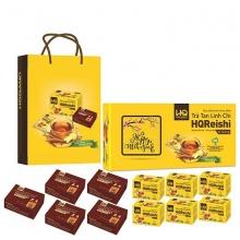 Giỏ quà 6 hộp trà tan linh chi HQReishi HQGANO + 5 hộp đông trùng hạ thảo (3g)