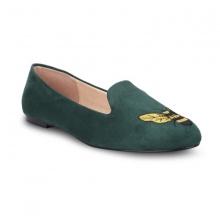 Giày mũi tròn thêu S10016 Girlie màu xanh