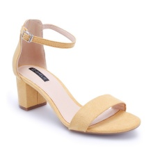 Sandals cao gót quai ngang S25545 vàng Girlie