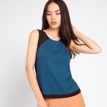 Áo phối màu Hity TOP075 (xanh indigo)