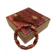 Vòng tay gỗ sưa đỏ 10 ly đốt trúc (size nữ)
