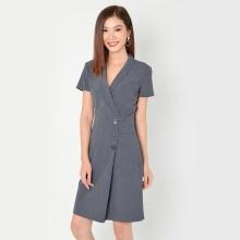 Đầm công sở thời trang Eden cổ vest tay ngắn (xám) - D323