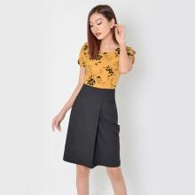 Đầm công sở thời trang Eden phối màu (vàng) - D324