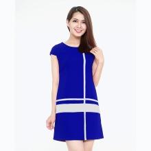 Đầm công sở phối sọc thời trang Eden (xanh bích) - D120