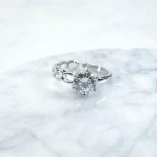Nhẫn xích trơn đính đá - Tatiana - NB2349 ( Bạc)