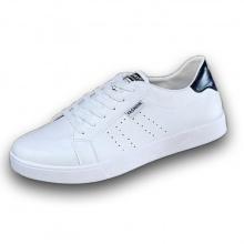 Giày nam thể thao da mềm sneaker trắng trang trí gáy đen