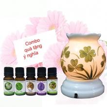 Combo 5 loại tinh dầu hữu cơ Oresoi + Đèn xông tinh dầu gốm bát tràng cao cấp size S