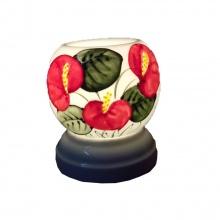 Đèn xông tinh dầu gốm sứ bát tràng họa tiết hoa lá size S - Tinh dầu hữu cơ Oresoi