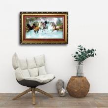 Tranh con ngựa - Tranh treo tường bát mã đồ W647 size 60x90cm