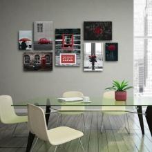 Bộ 5 tranh tường cầu thang tông đỏ W1463 - Canvas