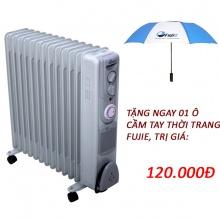 Máy sưởi dầu FujiE OFR5513 sử dụng cho phòng có diện tích từ 20 – 30m2. Tặng ngay ô thời trang đến khi hết sản phẩm khuyến mại