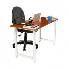 Bộ bàn Rec-T chân trắng mặt cánh gián và ghế IB505 đen có tay