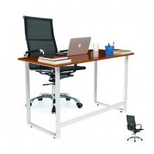 Bộ bàn Rec-F chân trắng mặt cánh gián và ghế IB16A đen