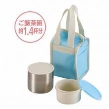 Hộp đựng thực phẩm giữ nhiệt 2 tầng kèm túi đựng giữ nhiệt Pearl Life (màu xanh) - Nội địa Nhật Bản