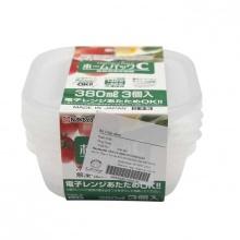 Set 3 hộp nhựa 380ml màu trắng - Nội địa Nhật Bản