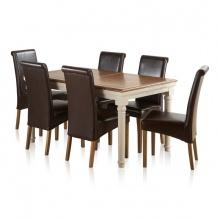 Bộ bàn ăn Shay 6 ghế bọc da