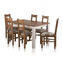 Bộ bàn ăn Kemble 6 ghế Farmhouse bọc nệm
