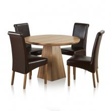 Bộ bàn tròn chân trụ Rivermead 4 ghế da gỗ sồi