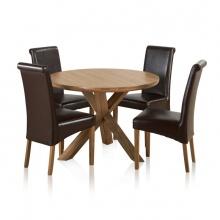 Bộ bàn tròn chân ghép Rivermead 4 ghế da gỗ sồi