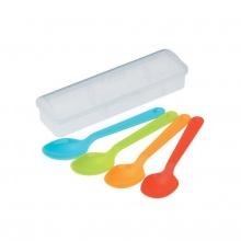 Bộ 4 thìa nhựa màu sắc kèm hộp - Nội địa Nhật Bản