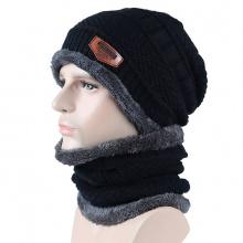 Mũ và khăn len có lớp lót bông giữ nhiệt unisex màu đen