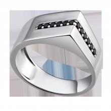 Nhẫn bạc nam PNJSilver đính đá màu đen 92528.403