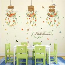 Decal dán tường ba giỏ hoa xinh PK501 (Kích thước : 80x100cm)