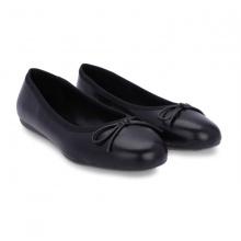 Giày búp bê mũi tròn đính nơ Girlie  S10017 màu đen