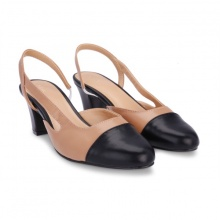 Giày cao gót mũi tròn đế vuông khoét hông S30042 Girlie màu nâu