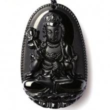 Mặt dây chuyền Phật bản mệnh Đại Thế Chí Bồ Tát đá hắc ngà BM01A5