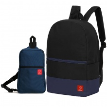 Combo balo du lịch Glado classical BLL007 (đen phối xanh) + Túi messenger DCG029 (xanh dương)
