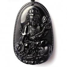Mặt dây chuyền Phật bản mệnh phổ hiền bồ tát đá hắc ngà nhí BM01D4