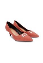 Giày cao gót bít mũi đính vòng kim sa Girlie S30046