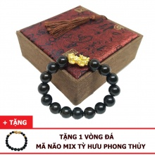 Vòng tay gỗ mun sừng 12ly mix tỳ hưu bạc xi vàng (size nam) tặng vòng đá