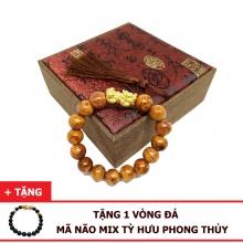 Vòng tay huyết long nu 12 ly mix tỳ hưu bạc xi vàng (size nam) tặng vòng đá