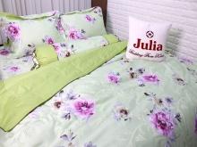Bộ vỏ chăn ga gối satin gấm tơ tằm nhập khẩu Hàn Quốc Julia (bộ 5 món có vỏ chăn)180x200x25-761BM18
