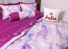 Bộ vỏ chăn ga gối satin gấm tơ tằm nhập khẩu Hàn Quốc Julia (bộ 5 món có vỏ chăn)180x200x25-745BM18