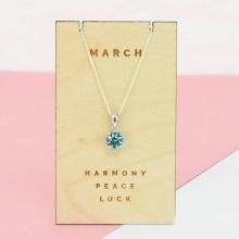 Opal - Dây chuyền bạc kèm mặt bạc đính đá theo tháng sinh_ tháng 3_ T01