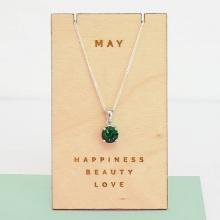 Opal - Dây chuyền bạc kèm mặt bạc đính đá theo tháng sinh _tháng 5_T01