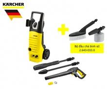 Combo máy xịt rửa áp lực cao Karcher K 3.450 và bộ đầu chà bình xịt