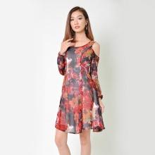 Đầm xòe thời trang Eden dài tay in hoa màu đỏ - D335