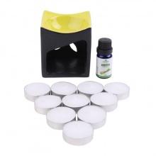 Combo đèn nến hình vuông(màu ngẫu nhiên) + tinh dầu sả chanh Lorganic (10ml) + 10 viên nến