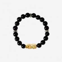 Vòng tay đá thiên thạch charm tỳ hưu bọc vàng 24k Ngọc Quý Gemstones