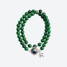 Vòng tay đôi cẩm thạch sơn thủy charm hoa Ngọc Quý Gemstones