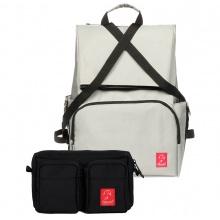 Combo balo laptop du lịch Glado Wander GWD002 (màu xám) và túi bao tử đeo chéo Glado Express GEX001 (màu đen)