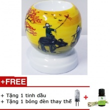 Đèn xông tinh dầu mini tặng 01 lọ tinh dầu sả chanh 5ml NuCare và 01 bóng đèn dự phòng (MN010)