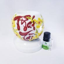 Đèn xông tinh dầu mini chữ thư pháp tặng 01 lọ tinh dầu sả chanh 5ml NuCare và 01 bóng đèn dự phòng (Phát Tài)