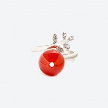 Nhẫn chiếc lá đá mã não đỏ