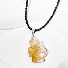 Mặt dây chuyền hồ ly 7 đuôi ôm mẫu đơn thạch anh tóc vàng Ngọc Quý Gemstones